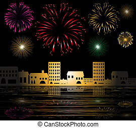 fuegos artificiales, en la ciudad, por, el, mar