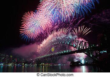 fuegos artificiales, eva, puerto, año, sydney, nuevo, nye