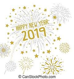 fuegos artificiales, ilustración, vector, 2019, plano de fondo, año, nuevo, blanco, feliz