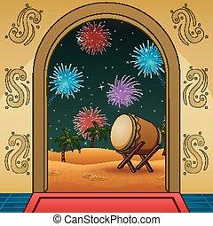 fuegos artificiales, mezquita, takbir, noche, frente, celebración