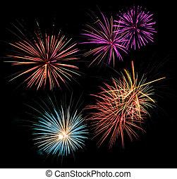 fuegos artificiales, multicolor