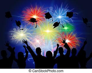 fuegos artificiales, nuevo, educación, grad, logro, exposiciones