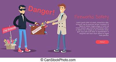 fuegos artificiales, seguridad, hombre, compra, falsificación, elementos