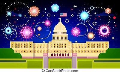 fuegos artificiales, sobre, casa blanca, estados unidos, día de independencia, feriado, 4, julio, concepto