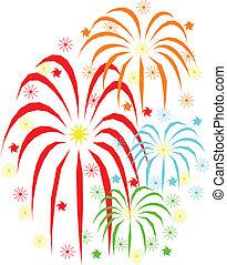 fuegos artificiales, vacaciones, celebración