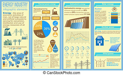Fuel and energy industry infographic, set elements for ...