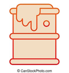 Fuel barrel flat icon. Leaking chemical metal can, dropped drum container. Oil industry vector design concept, gradient style pictogram on white background.