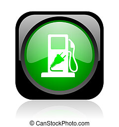 fuel black and green square web glossy icon