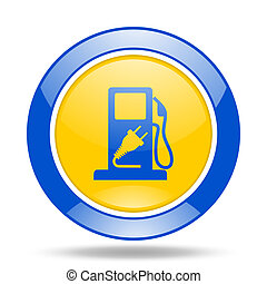 fuel blue and yellow web glossy round icon