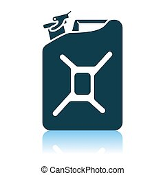 Fuel Canister Icon. Shadow Reflection Design. Vector...