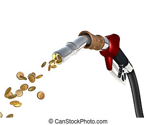 Fuel Cost - A fuel pump shoots fuel in the form of gold...