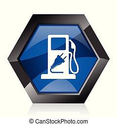 Fuel dark blue glossy hexagon geometric diamond vector web icon with reflection on white background. Modern design hexagonal internet button.