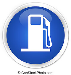 Fuel dispenser icon blue glossy round button