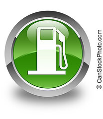 Fuel dispenser icon glossy soft green round button