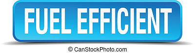 fuel efficient blue 3d realistic square isolated button