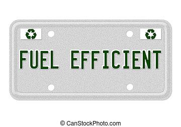 Fuel Efficient Car  License Plate