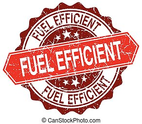 fuel efficient red round grunge stamp on white