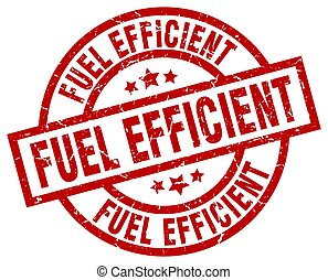 fuel efficient round red grunge stamp