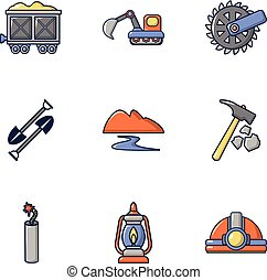 Fuel extraction icons set, cartoon style