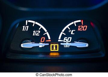 Fuel, gas and Engine coolant temperature gauge in car - Car,...
