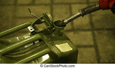 Fuel gas petrol diesel pump into jerrycan - Pumping jerry...