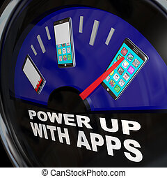Fuel Gauge Apps Smart Phone Full of Applications