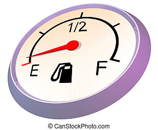 Fuel gauge - empty - 3D illustration of car fuel gauge...