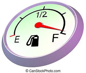 Fuel gauge - full - 3D illustration of car fuel gauge...