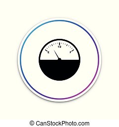 Fuel gauge icon isolated on white background. Full tank. Circle white button. Vector Illustration