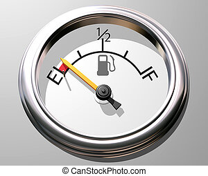 Illustration of a fuel gauge with the needle close to empty