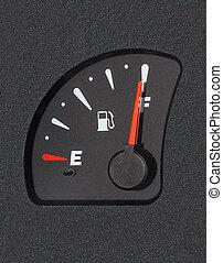 Of a car fuel gauge showing full tank