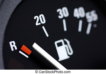Fuel gauge of a car in position empty
