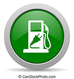 fuel green glossy web icon