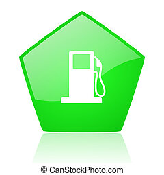 fuel green pentagon web glossy icon