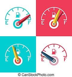 Fuel Icon. Car Dashboard Control Icons Set. Vector Illustration.
