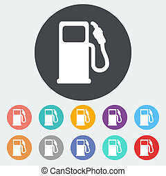 Fuel icon - Fuel. Single flat icon on the circle. Vector...