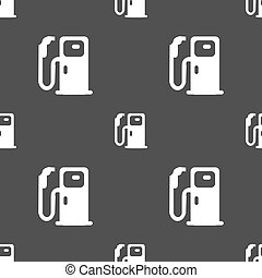 Fuel icon sign. Seamless pattern on a gray background. Vector