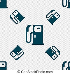 Fuel icon sign. Seamless pattern with geometric texture. Vector