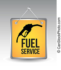 fuel icon over yellow annoucement. vector illustration