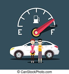 Fuel Icon with Car and People Vector Design