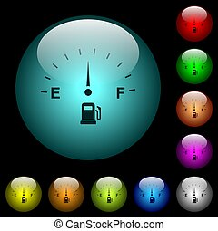 Fuel indicator icons in color illuminated glass buttons -...