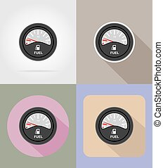 fuel level indicator flat icons vector illustration