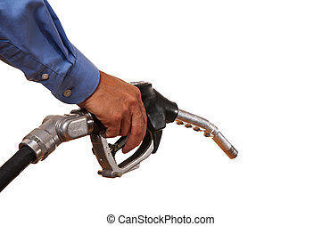 Fuel - Male hand holding black pump isolated on white