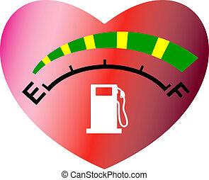 Fuel meter with heart - Fuel or energy meter gauge icon or...