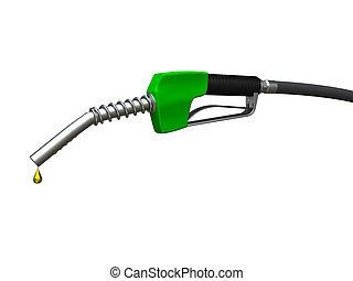 Fuel nozzle - Green fuel nozzle with golden droplet on white...