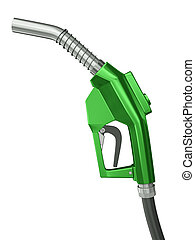 Fuel nozzle - Green gas pump nozzle isolated on white ...
