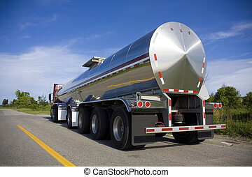 Fuel or liquid tanker on the road