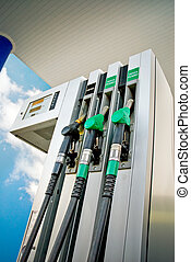 fuel panel in a gas station, low angle view