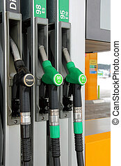 Fuel Pistols at Filling Station