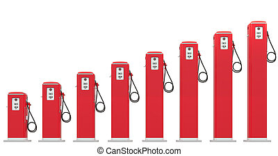 Fuel prices: red petrol pumps chart isolated